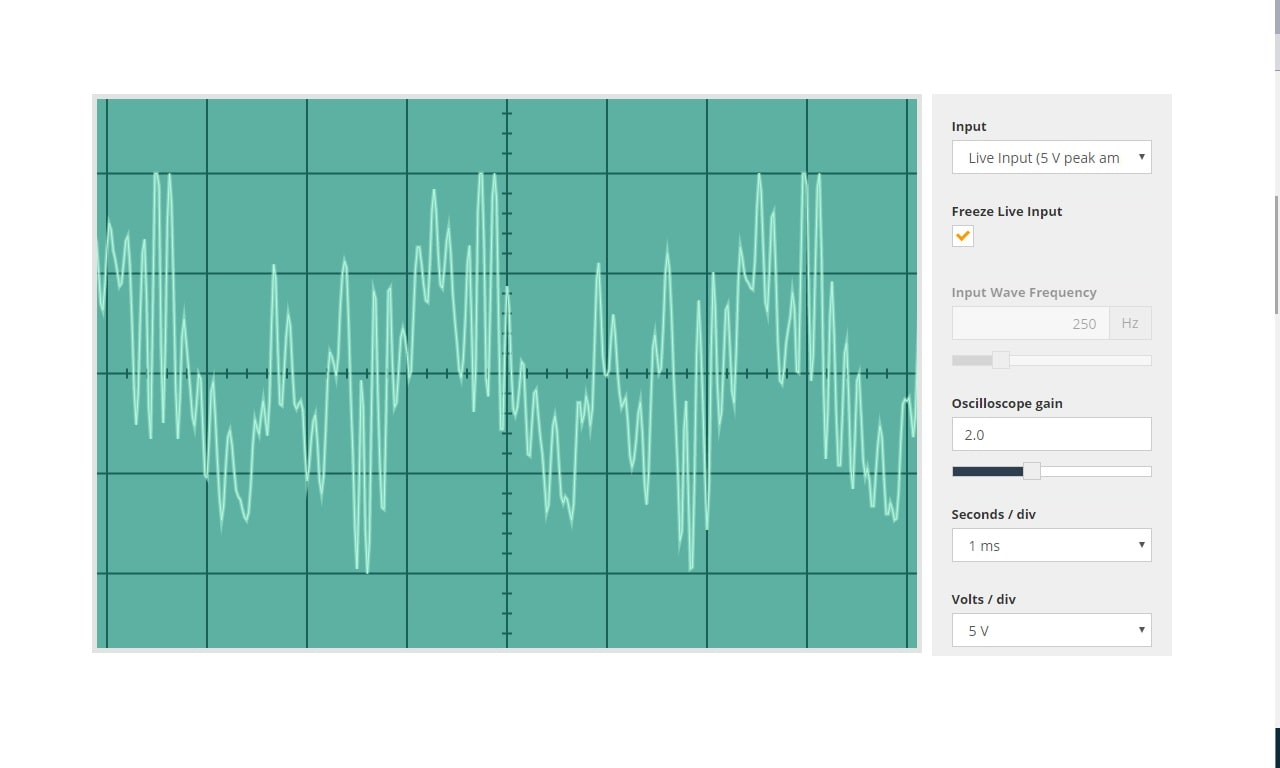 Straw kazoo sound down on an oscilloscope.