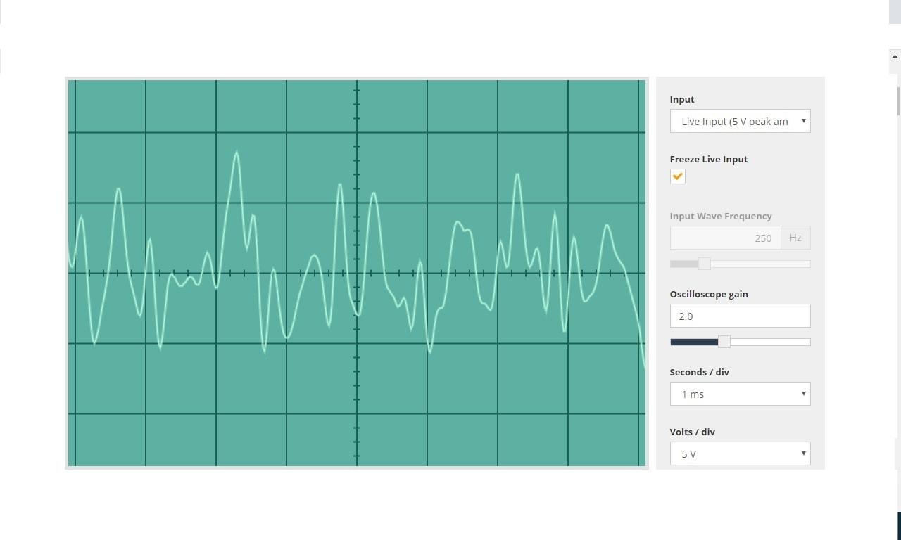 Villarrica volcano sound show on an oscilloscope