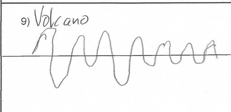 Waveform for the Villarica volcano drawn in pencil
