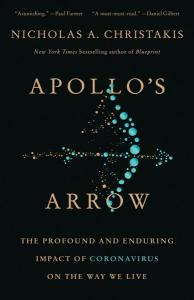 """a black book cover with a blue illustration of circles that are arranged as a bow and arrow. the title in gold reads """"apollo's arrow"""""""