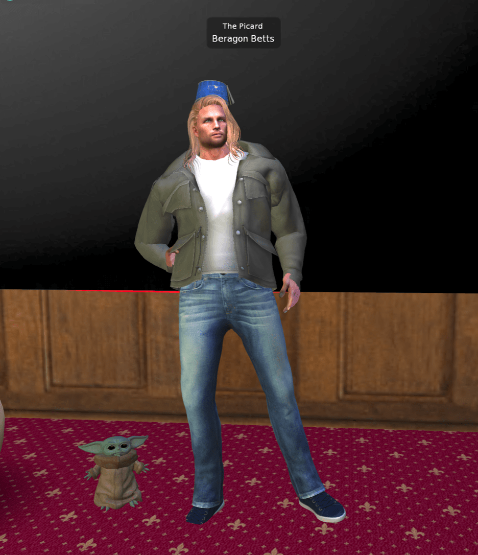 a buff and tall male presenting avatar with long flowing hair. the avatar is wearing a blue hat, green jacket, and jeans