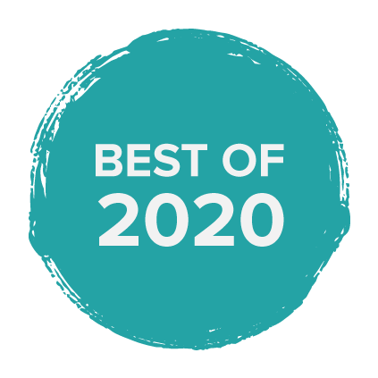 """a blue paint circle badge with words in white that say """"best of 2020"""""""