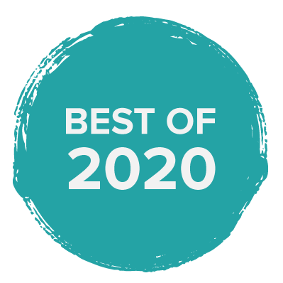 "a blue paint circle badge with words in white that say ""best of 2020"""