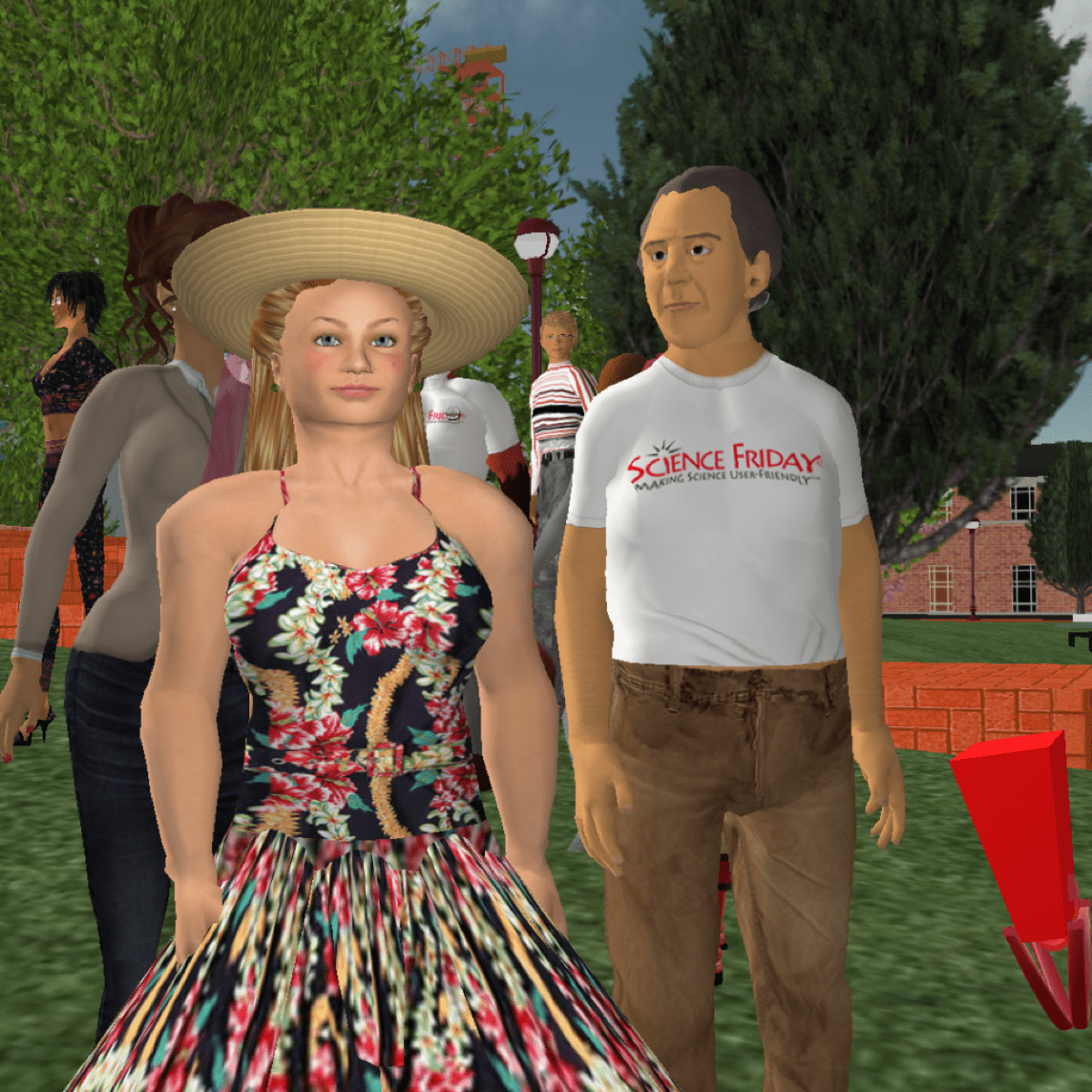 "a woman avatar with blonde hair, a sun hut, and a flower dress. standing next to her is an older male avatar with a white t-shirt that reads, ""science friday."""