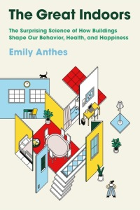 """a book cover that reads in green font """"the great indoors."""" the cover is a beige color with geometric cut outs representing features of a home, like doors, windows, plants, tables, and rugs"""