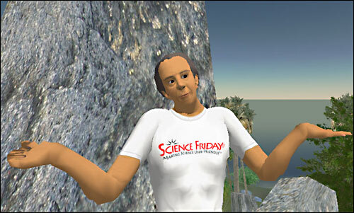 a virtual world avatar of an older man with a buff body wearing a white t-shirt. the avatar is doing a shrug and standing in front of a boulder. water can be seen in the horizon