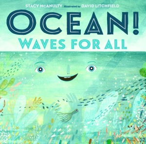 """a book cover that reads """"ocean! waves for all."""" it shows a watercolored ocean with a smiley face on it"""
