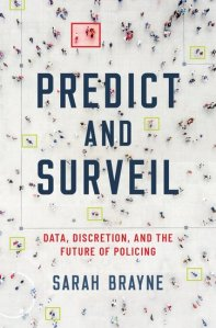 """a book cover that shows an aerial view of a dispersed crowd on a white floor. the title is """"predict and surveil"""""""