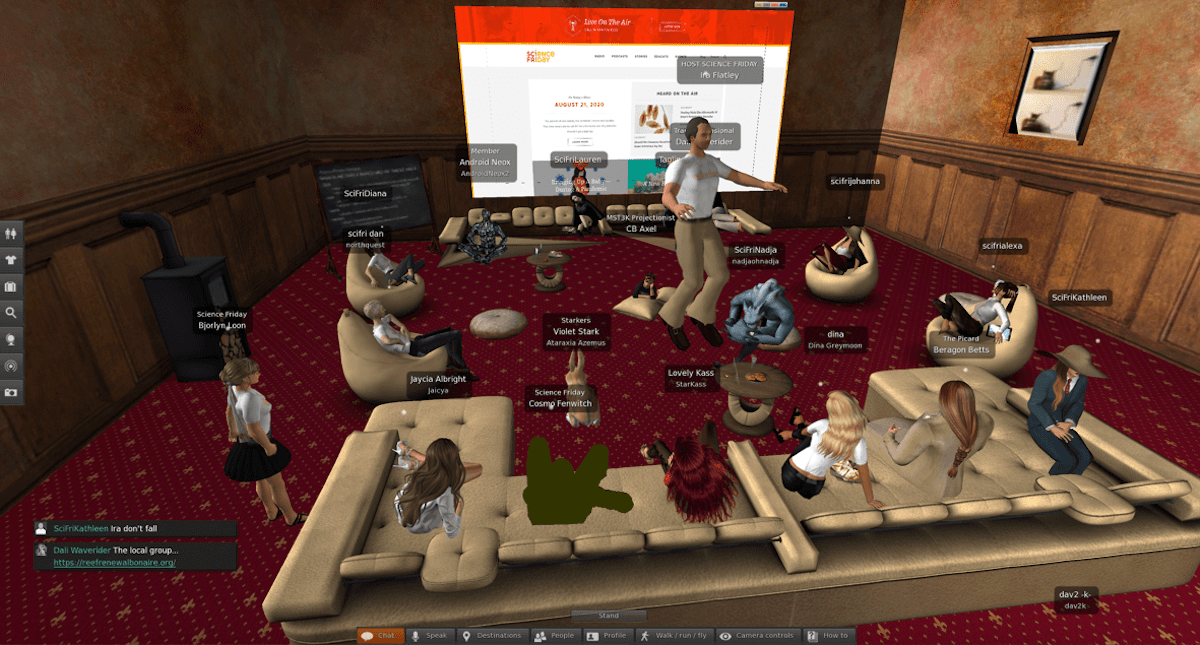 a virtual room with avatars. the avatars gather in a comfy lounge, with a big tan sofa and various chairs and cushions. behind them on the wall is a screen that shows the science friday website