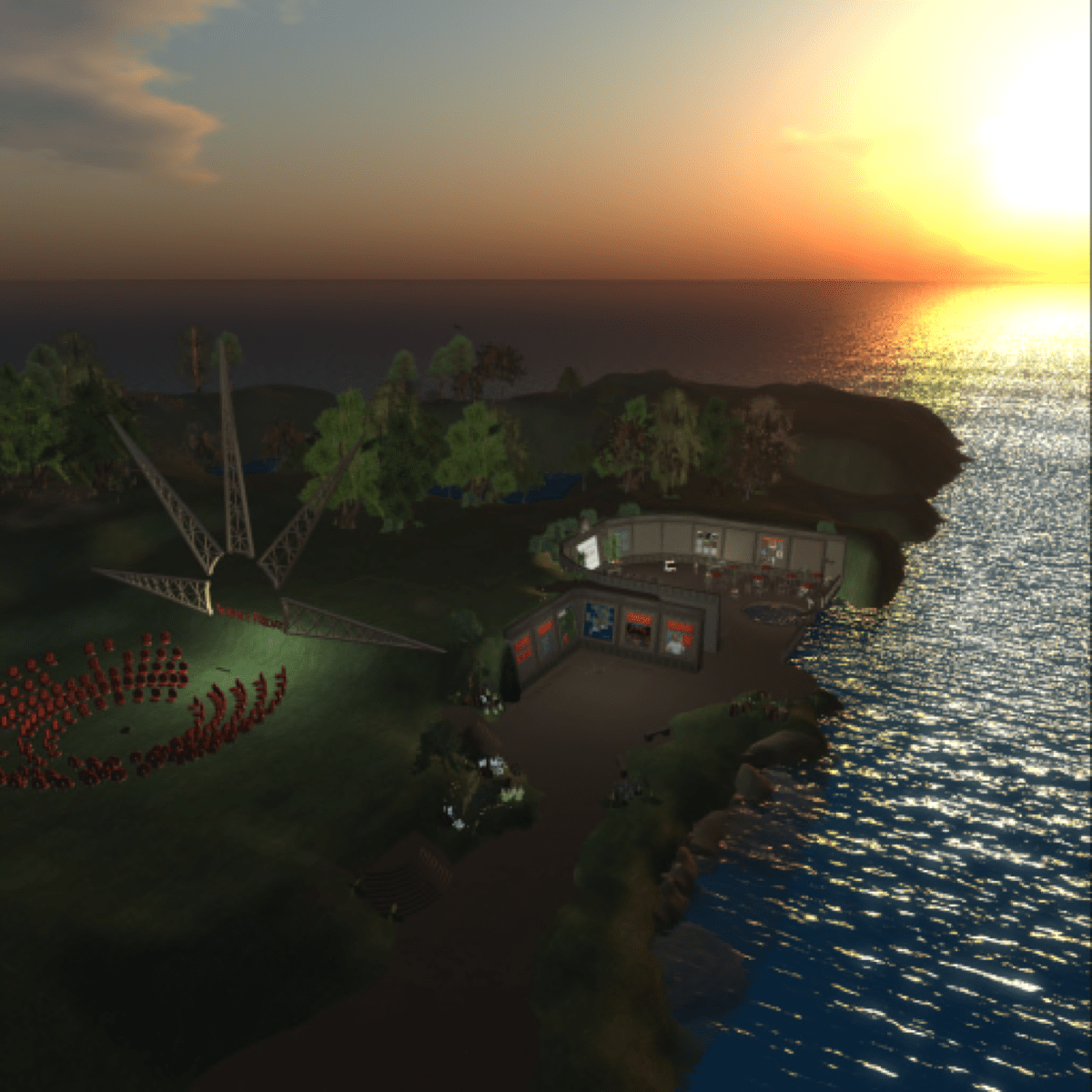 a beautiful virtual island in second life. the sun sets on the island highlighting the waves of the nearby ocean