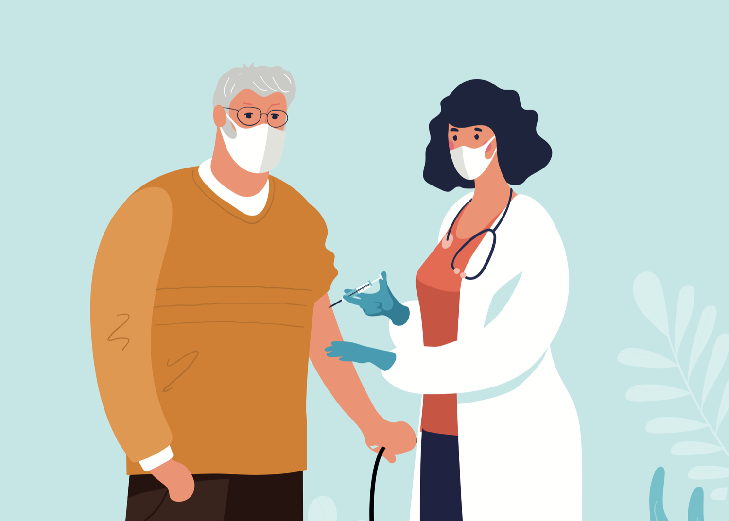 a woman wearing a mask in a lab coat wearing a stethoscope adminsters a vaccine shot to an older man, also wearing a mask