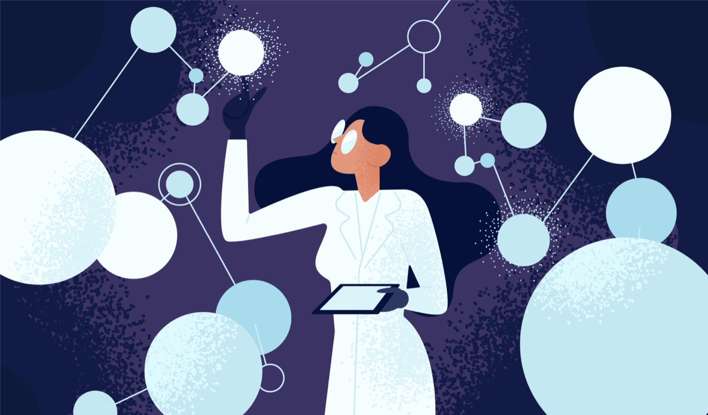 an illustration of a Black scientist with a white lab coat holding a tablet wearing big glasses reaching out to abstract orbs connected by lines around her