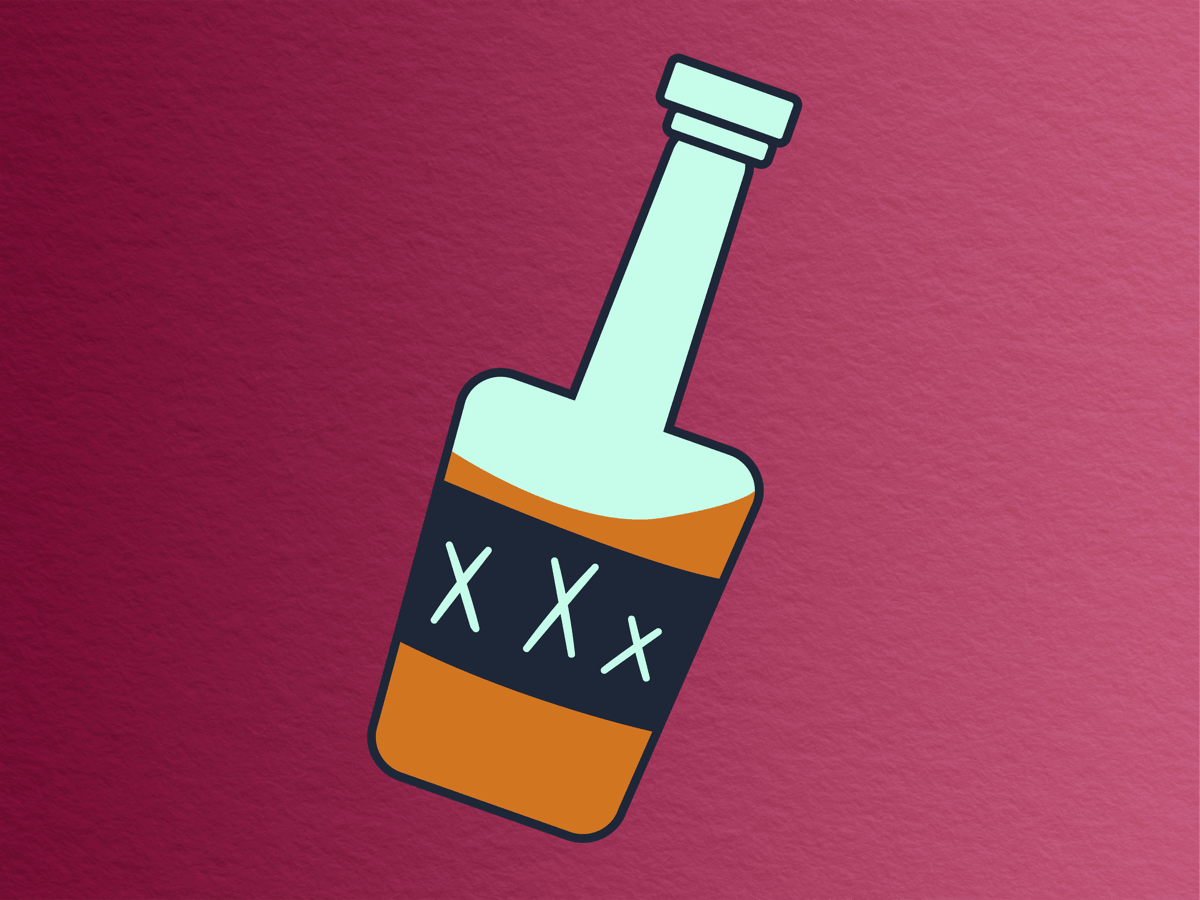cartoon image of a moonshine bottle with XXX written on it and sloshing brown liquid, on a wine colored paper-textured background