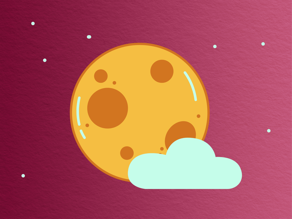cartoonish yellow moon and fluffy clouds with a sprinkling of stars in the background against a wine-colored paper-textured background