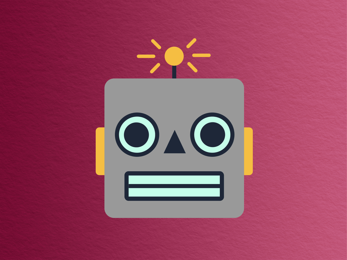 cartoonish and emoji-like square gray robot head with yellow ears and grimmacing face against a wine-colored paper-textured background