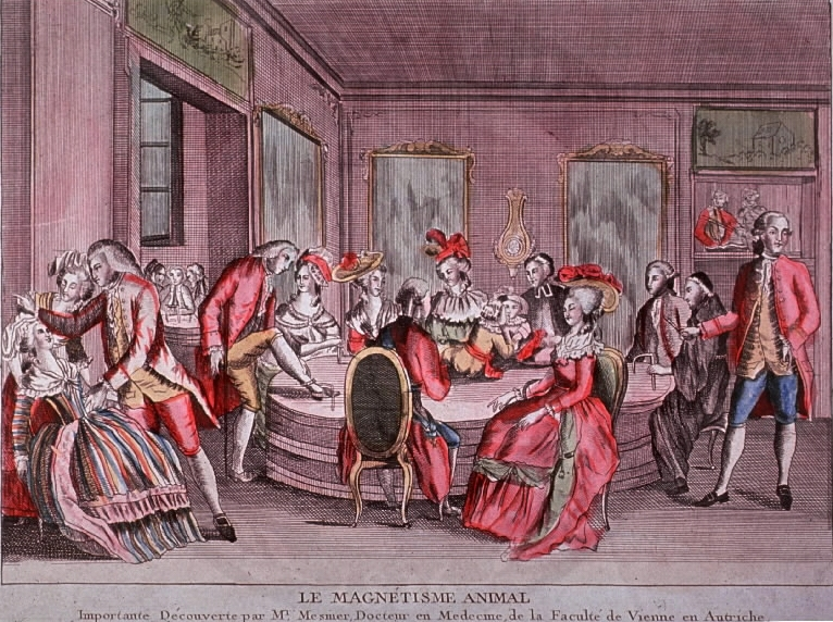 "an etching with several well-to-do people in a room, wearing red, engaging in some strange behavior like hypnotism. they are all gathered around a central table and text at the bottom of the image says ""le magnetisme animal"""