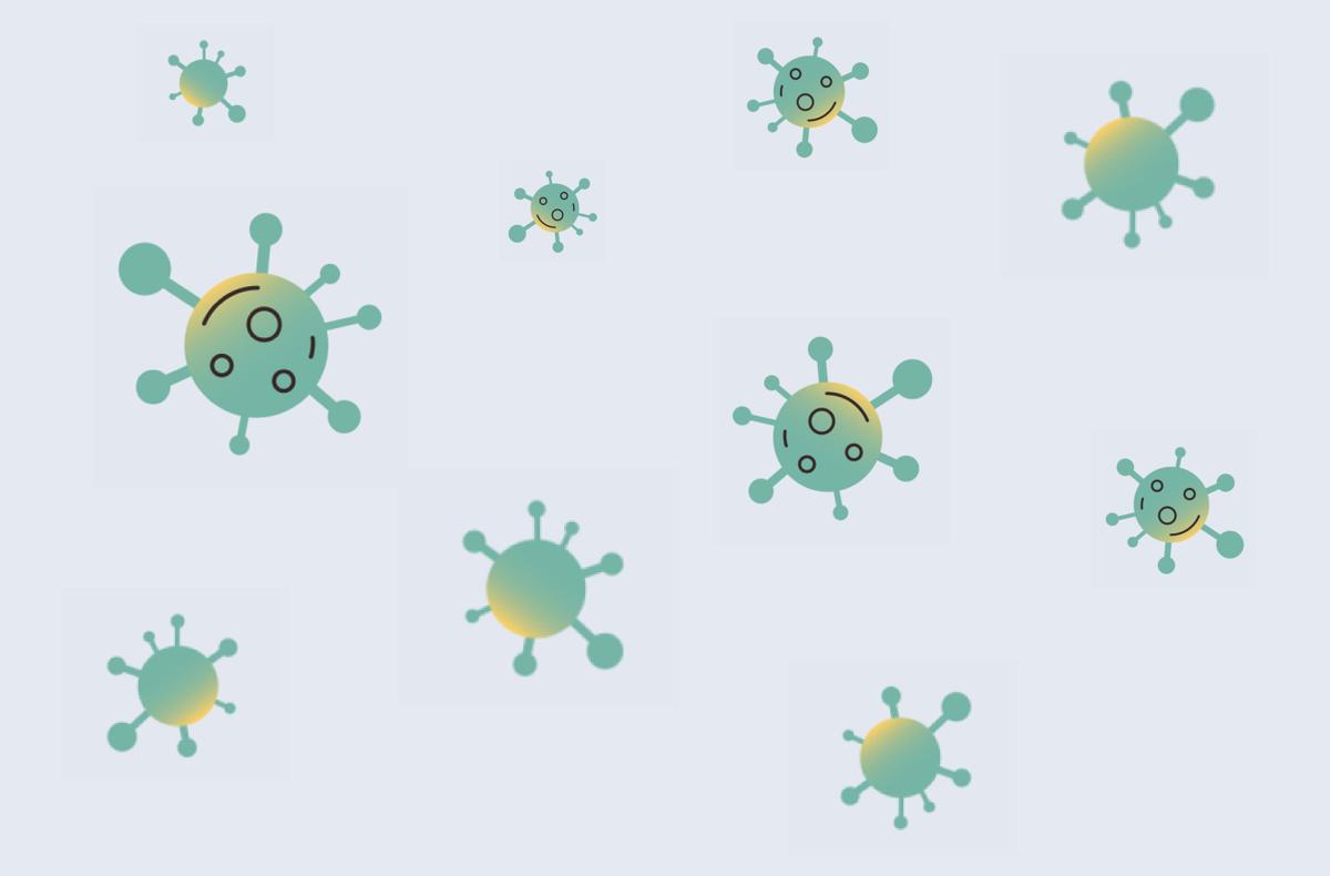 illustrations of abstract coronavirus cells