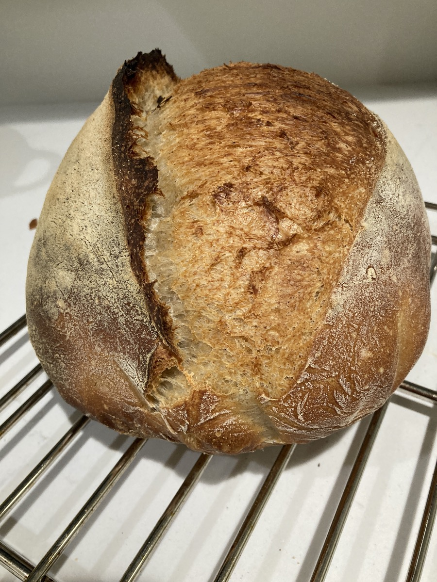 a round loaf of baked sourdough bread on a cooling rack