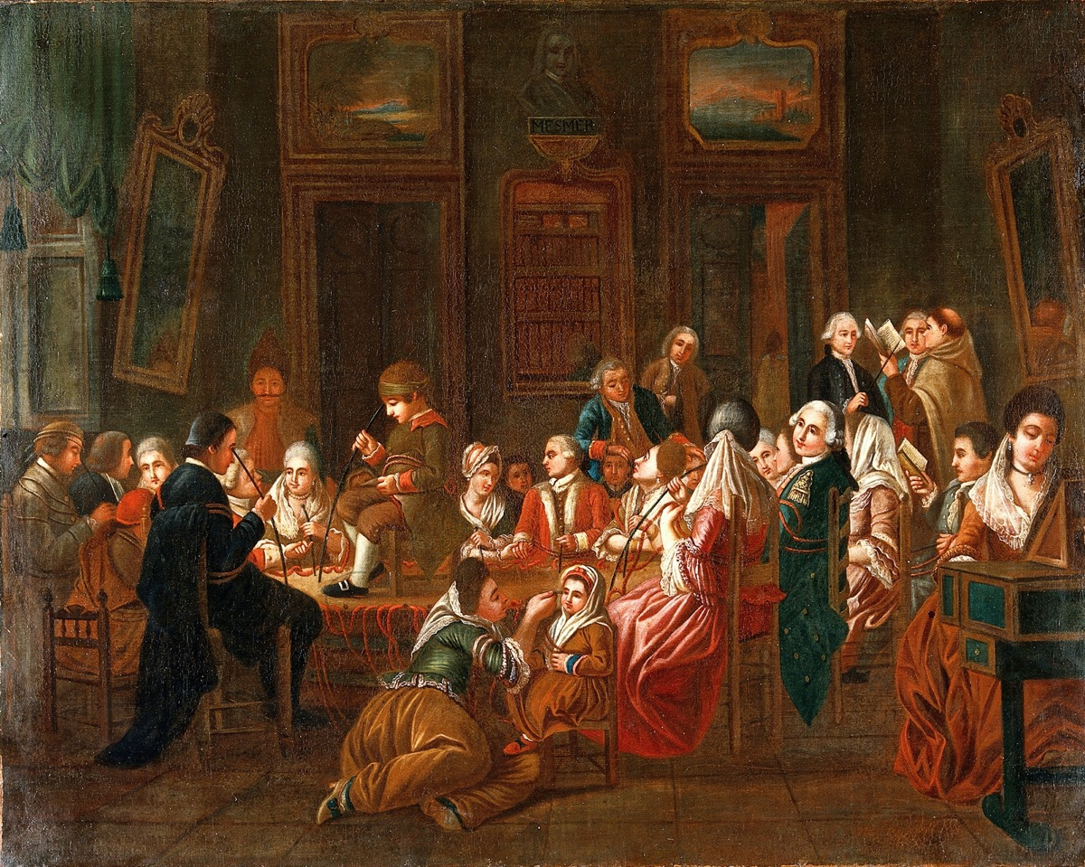 a colored oil painting of many people in 18th-century attire sitting in a room. they are all holding magnetized rods to parts of their bodies.