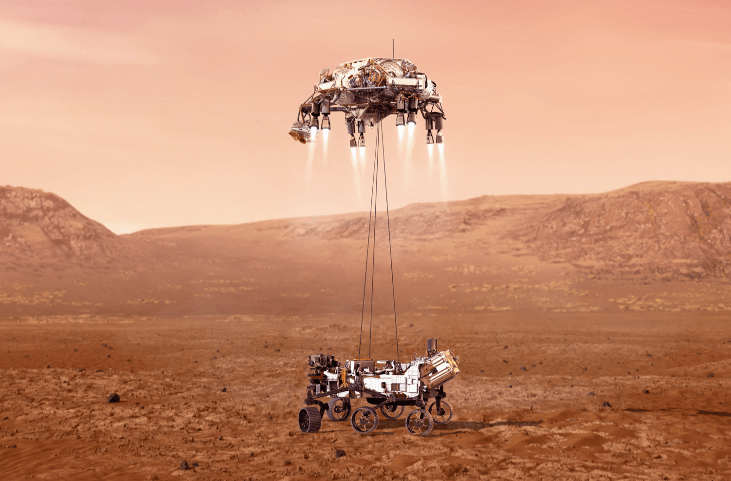 a computer generated image of the new mars rover landing on mars, being lowered down on wires by a rocket powered platform