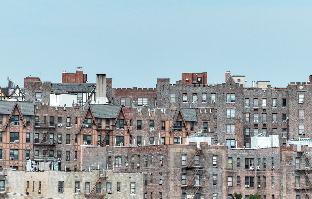 Panoramic roof view of apartment buildings and homes in the bronx
