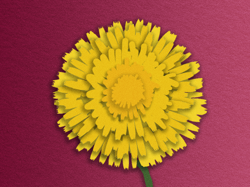 paper cutout of yellow dandelion against wine-colored paper textured background