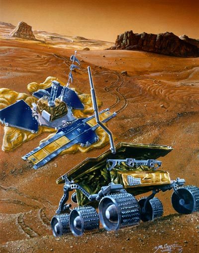 A colorized illustration of a six-wheeled robotic rover in the forefront, rolling over desert dunes. In the background is a three-pedaled lander with solar panels and various antennas. You can also see desert plateaus and cliffs.