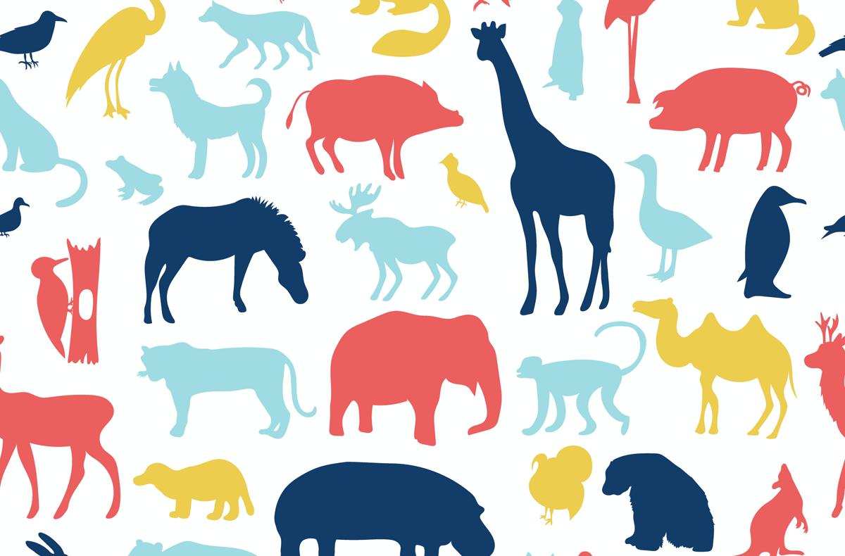illustrations of a pattern of animals including giraffes, monkeys, elephants, leopards, turkeys, ferrets