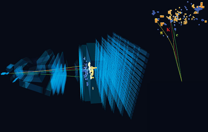 a 3d computer generated image of multiple layers of blue rectangles with thin yellow lines penetrating them