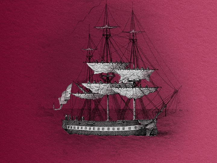 Engraving of an old ship