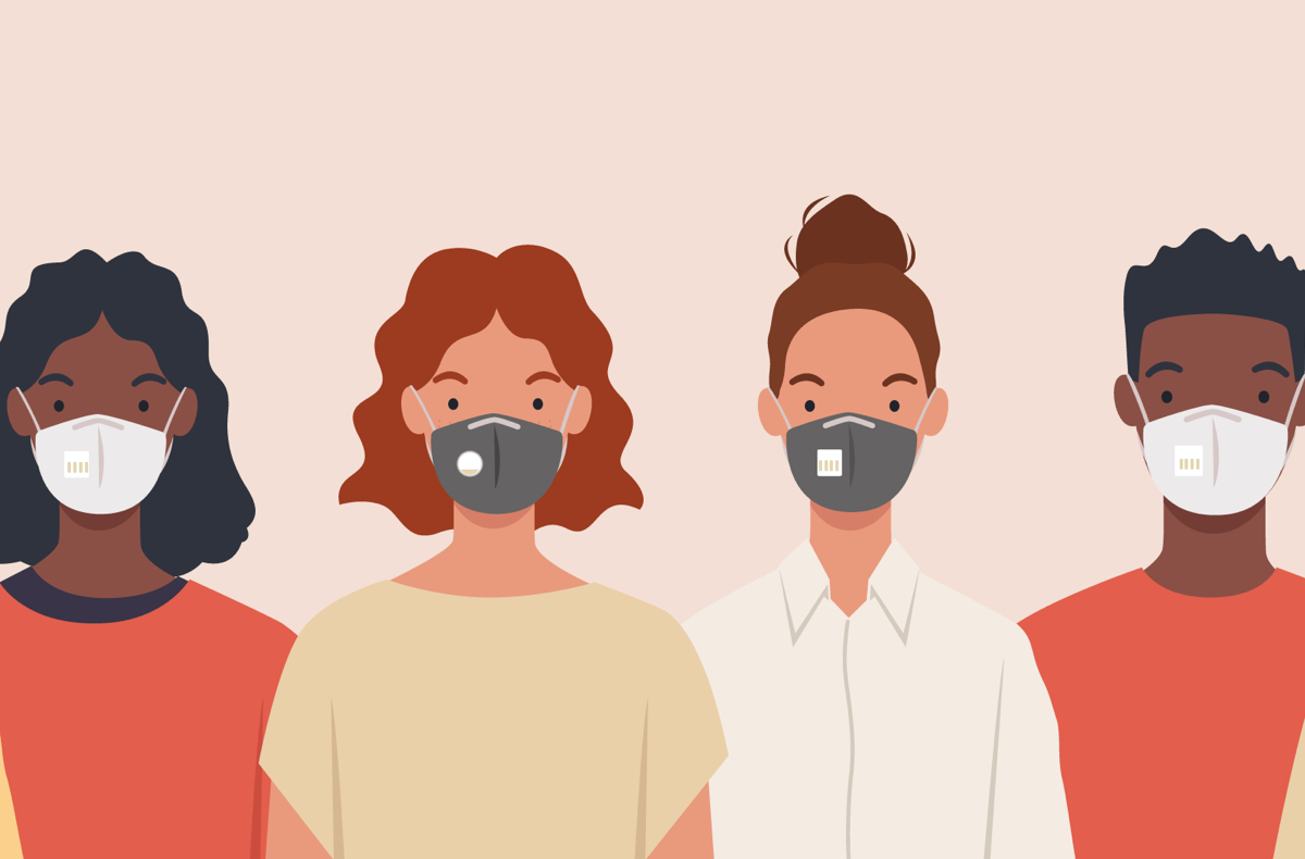 an illustration of four people, one black woman, two white women, and one black man, all wearing masks, looking straight ahead