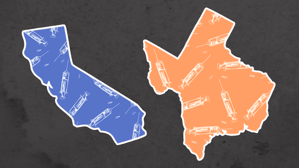 two outlines of states, california and texas. california is in blue and texas is shaded orange. both have illustrations of vaccine syringes in them