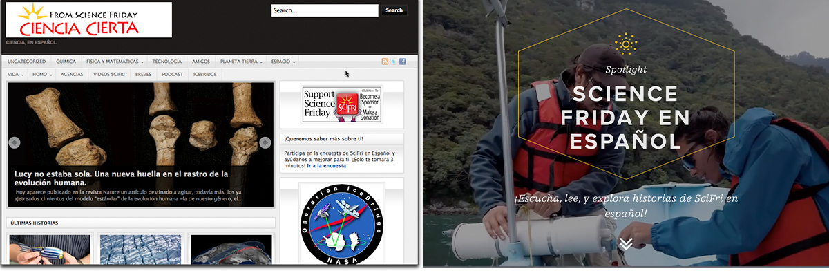two side by side screenshots of websites named Science Friday and Ciencia Cierta Espanol