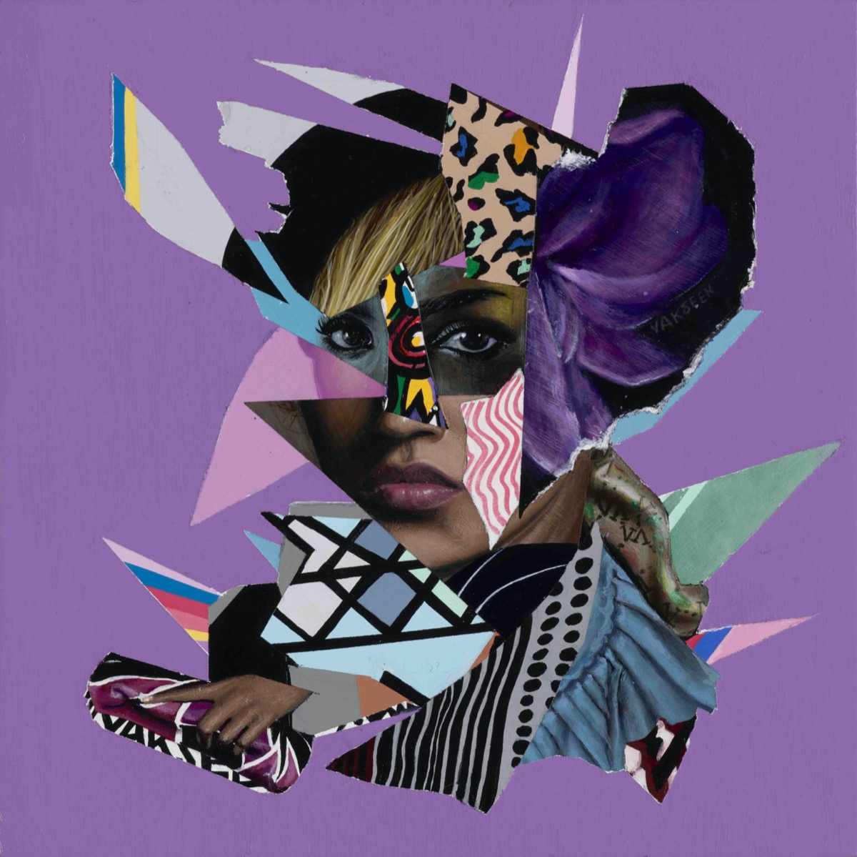 an abstract portrait of various angular triangles and rectangles, each filled with different types of patterns. these are spliced over a woman's face