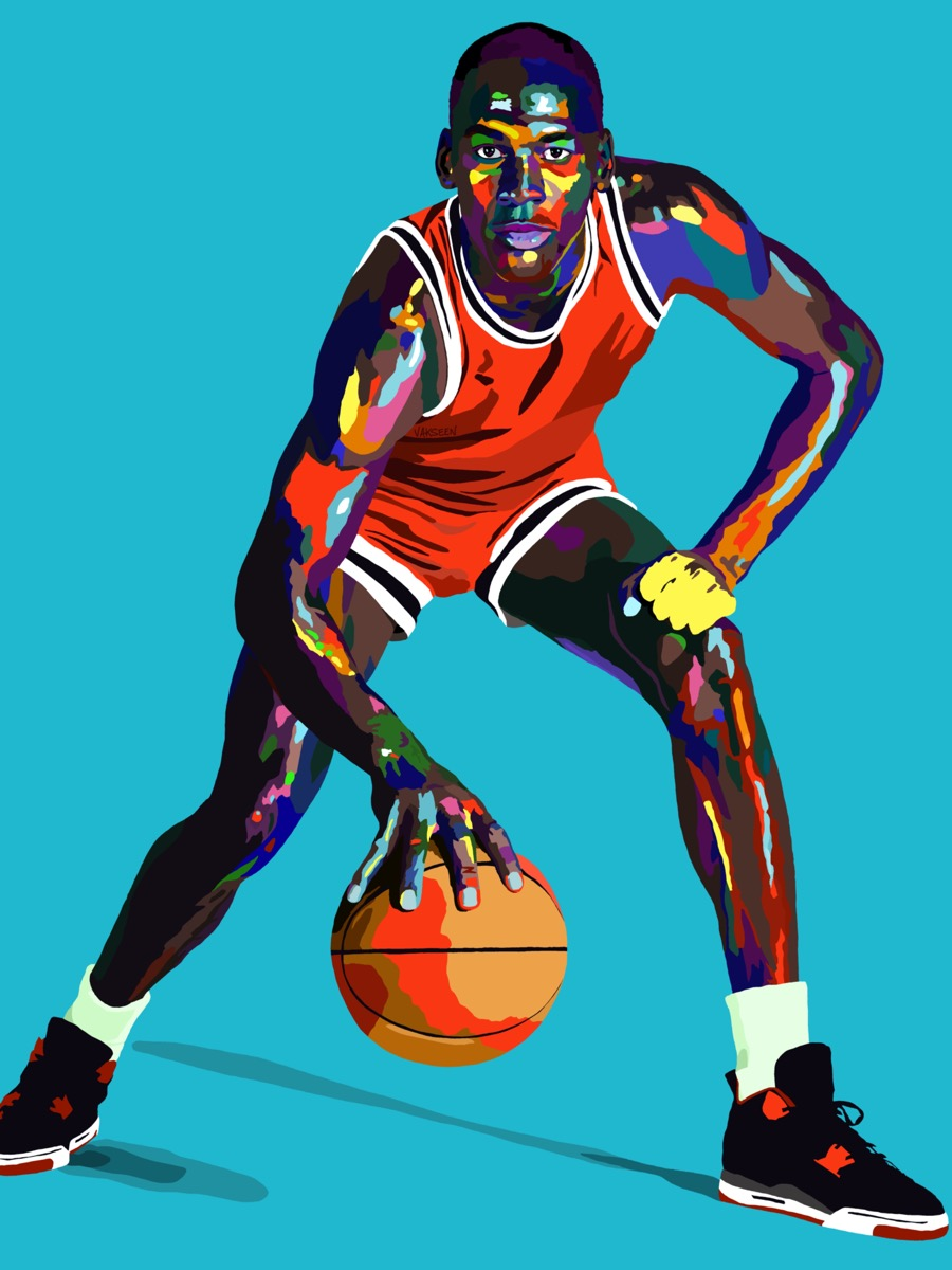 a bright painting of a black man in a red sports jersey dribbling a basketball on a bright blue background