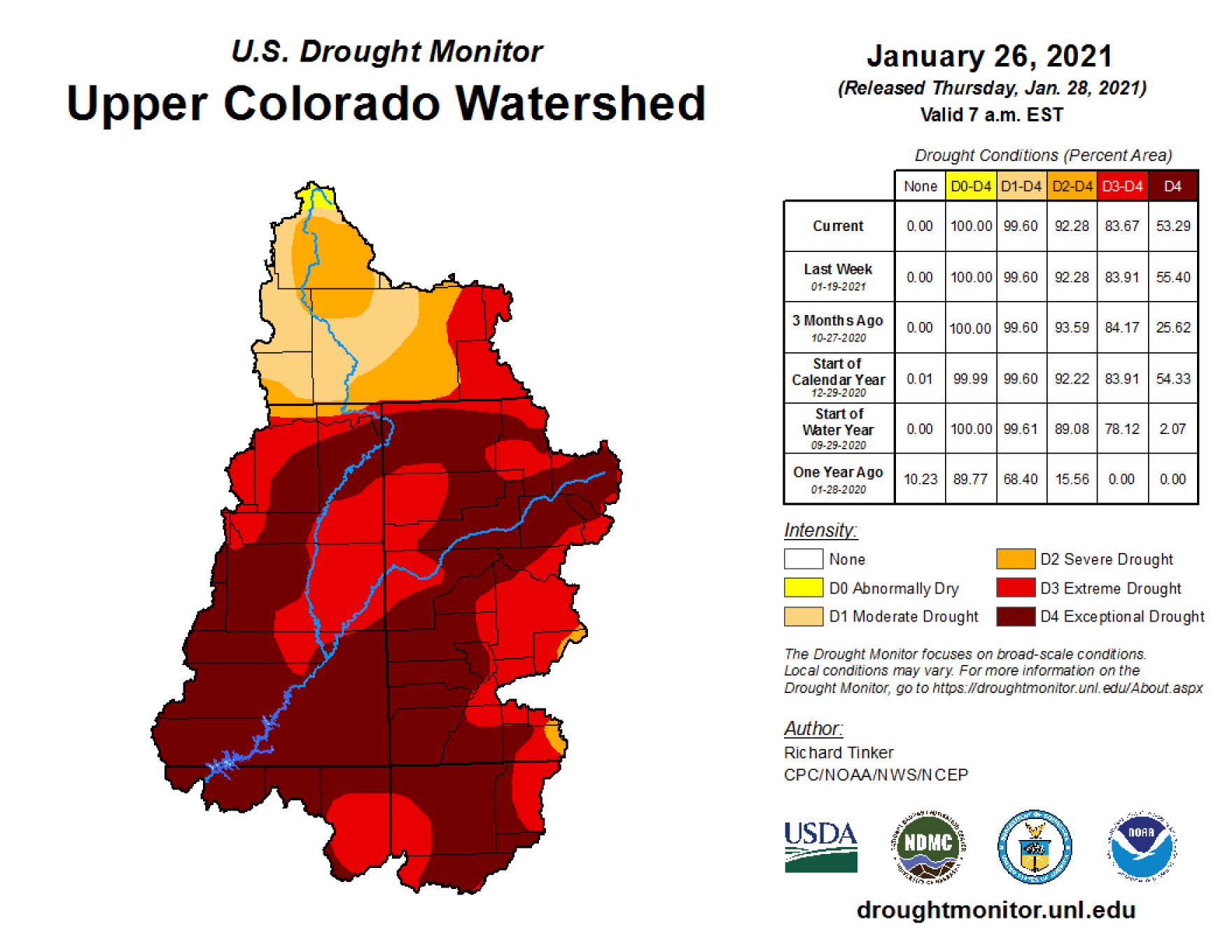 a map showing the upper colorado rivershed with a data table to the right. according the color coding, most of the region is in extreme drought