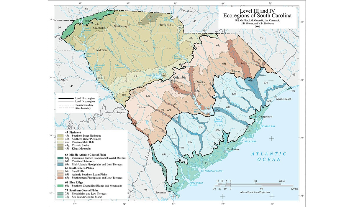 Map of South Carolina with different colors to indicate the ecoregion.