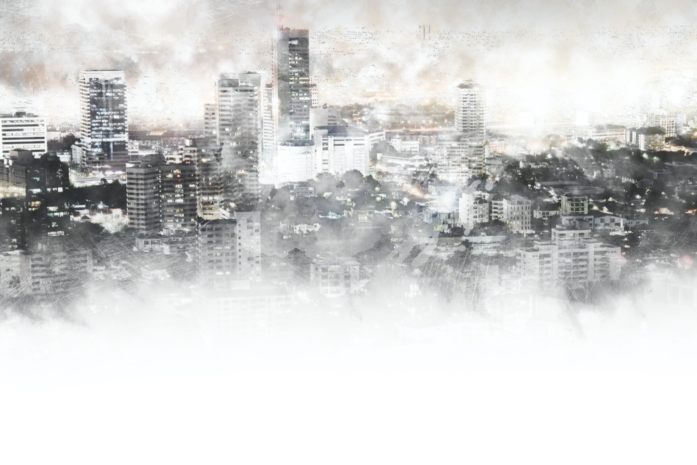 an abstract painting of tall skyscrapers shrouded by pollution