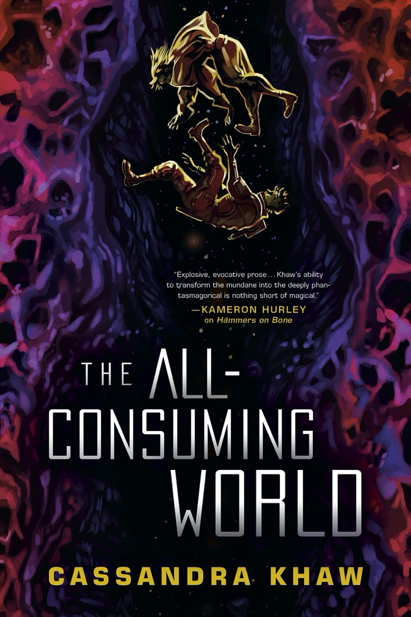 """a book cover of two illustrated people falling down a dark purple and pink cave. the title reads """"the all consuming world"""" by cassandra khaw"""