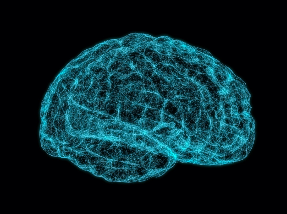 brain made of interconnected neon blue lines against a black background