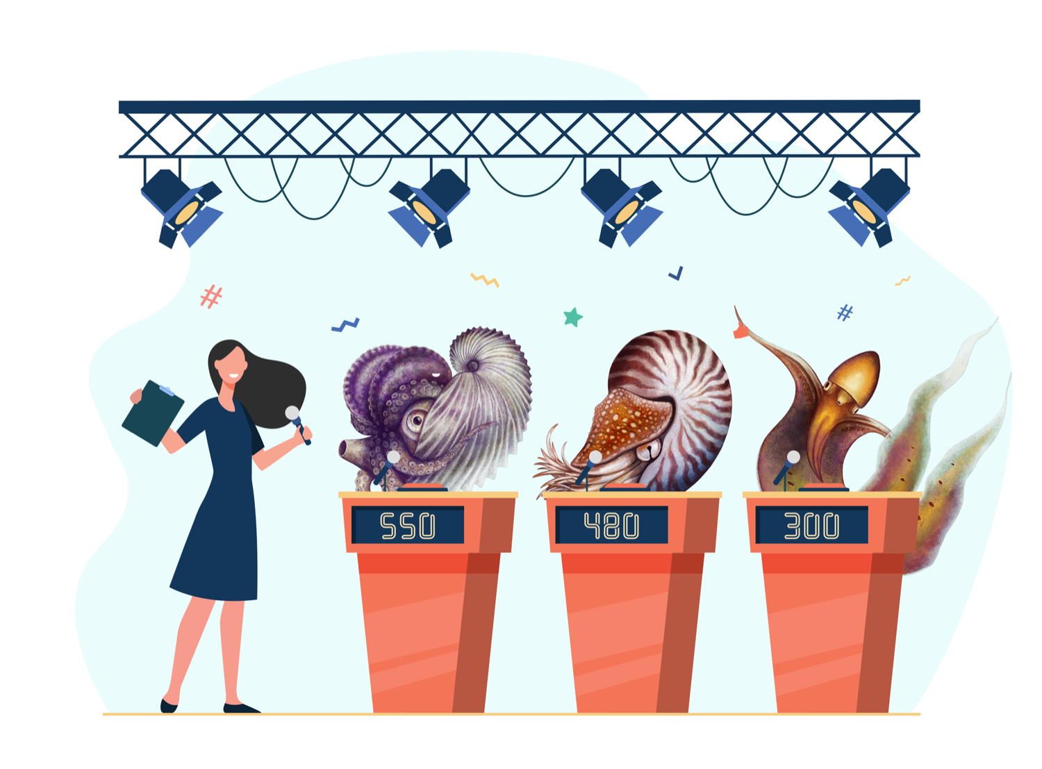 an illustration of a game show stage, with three podiums with an argonaut, nautilus, and blanket squid behind them, and a white woman host to their left