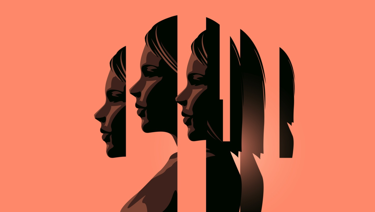 an abstract image of slices of a woman's face spaced apartphotographed from the side