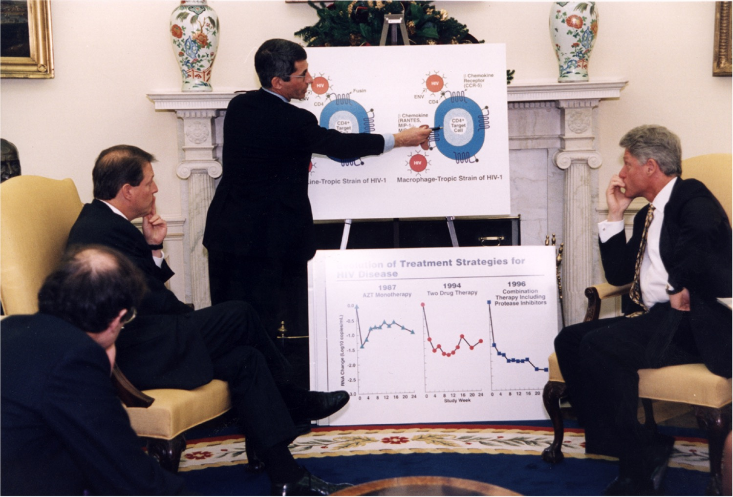 a man points at a poster board showing how a virus infects a cell to government officials and the president