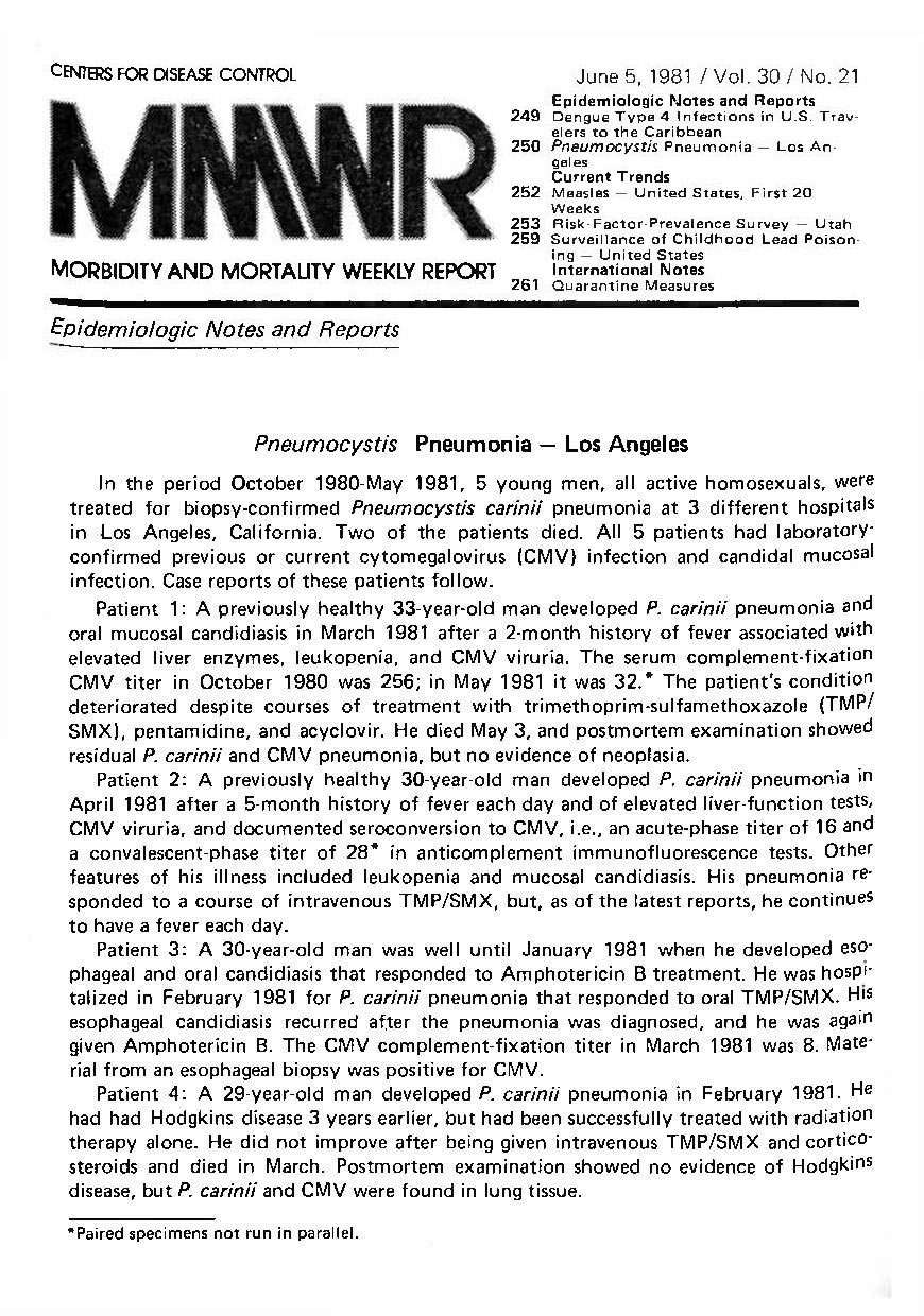"""a manuscript page with the title """"mmwr"""" in bold black letters and beneath it an article that details """"Pneumocystis Pneumonia --- Los Angeles"""""""