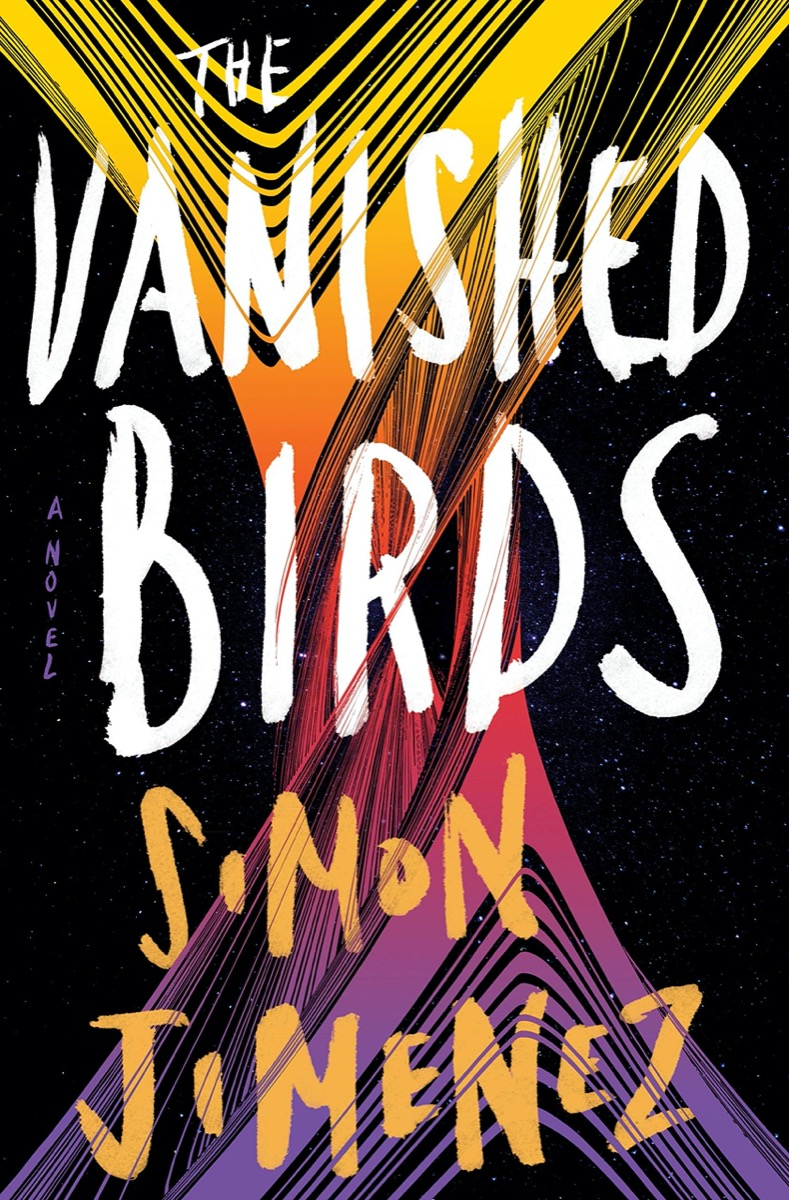 """a black book cover with a twisted painted strokes of yellow, orange, pink, and purple. the title reads """"the vanished birds"""" a novel by simon jimenez"""