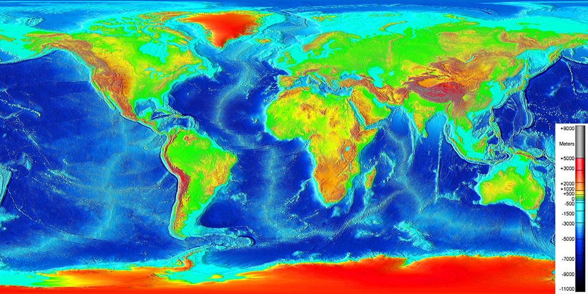 Ocean depth map