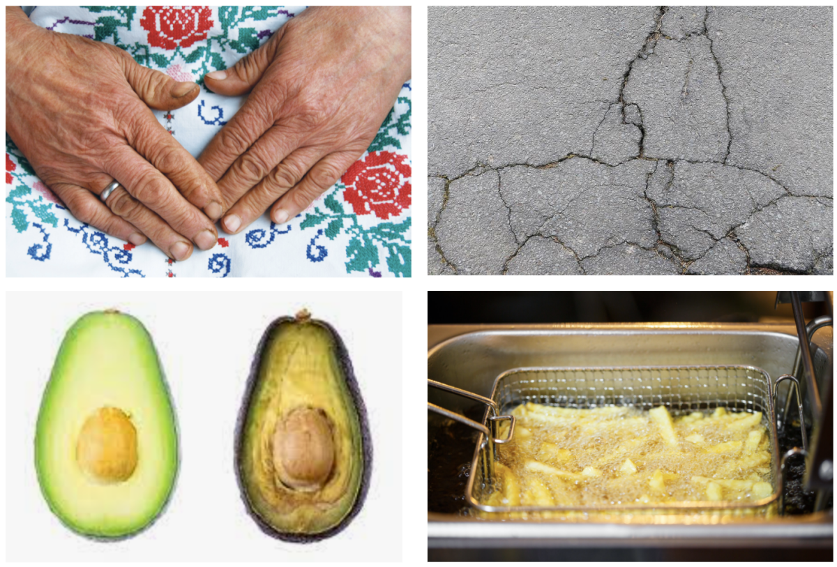 An image of hands touching dyed fabric, a picture of cracked pavement, an image of a browning avocado, and an image of french fries in a frying basket being browned