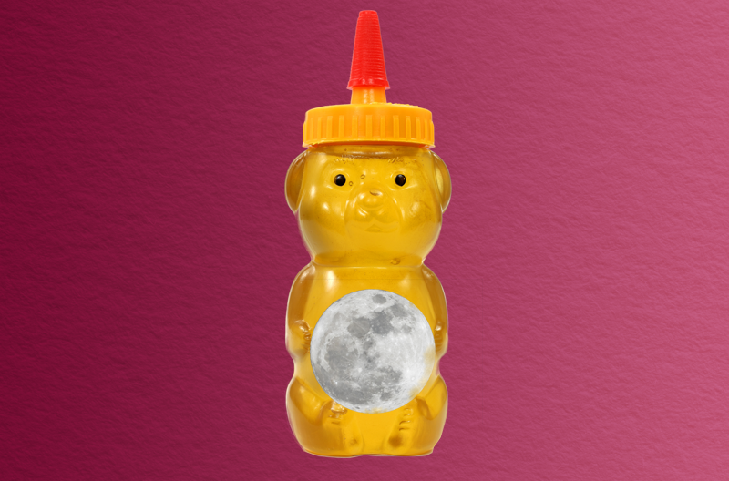 plastic bear-shaped bottle of honey holding a moon over its belly, against a wine-colored paper-textured background