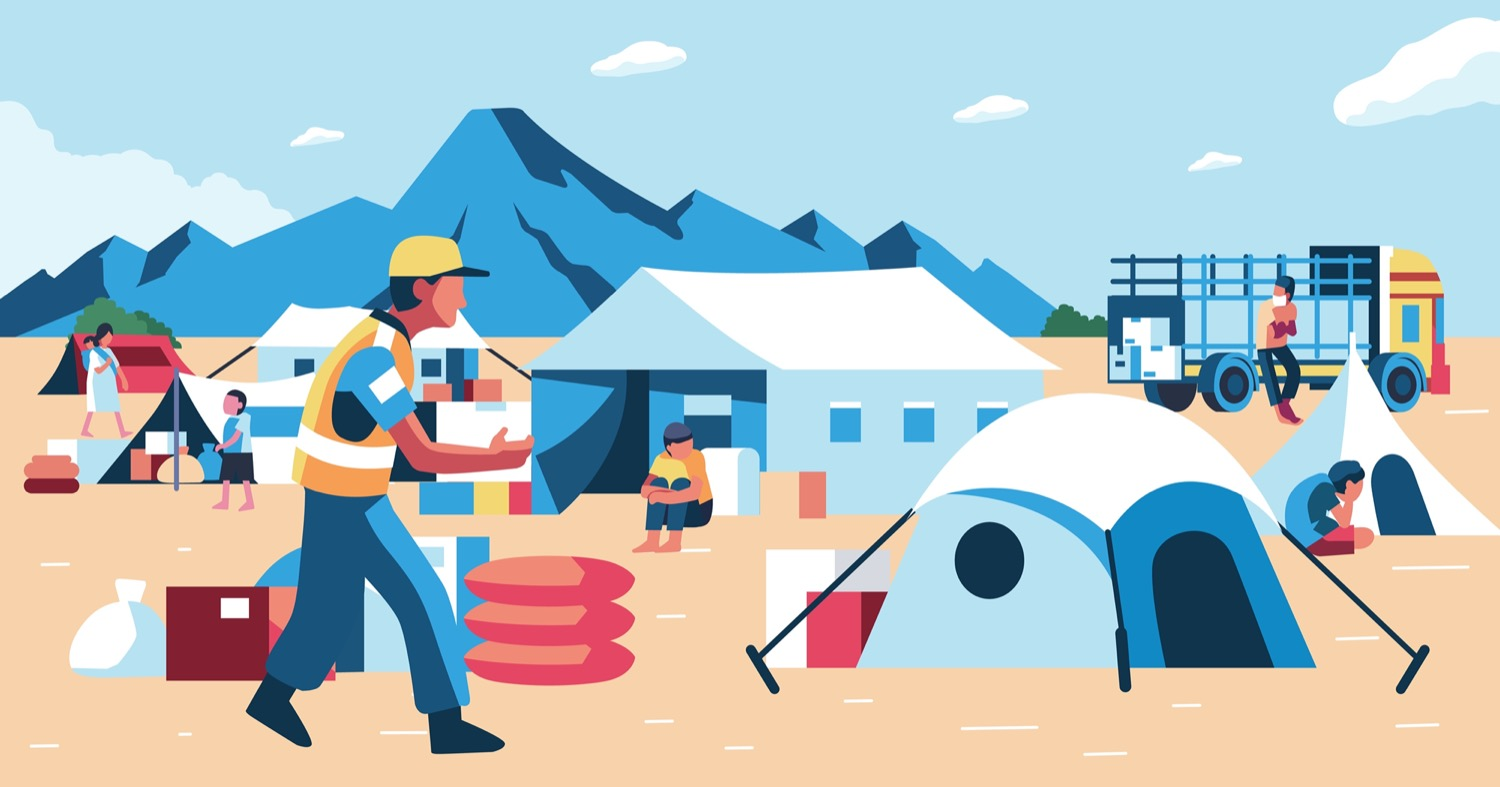 an illustration of temporary tents and supplies with a worker in a caution vest with mountains in the background. some people are sitting hold their knees close to their chest