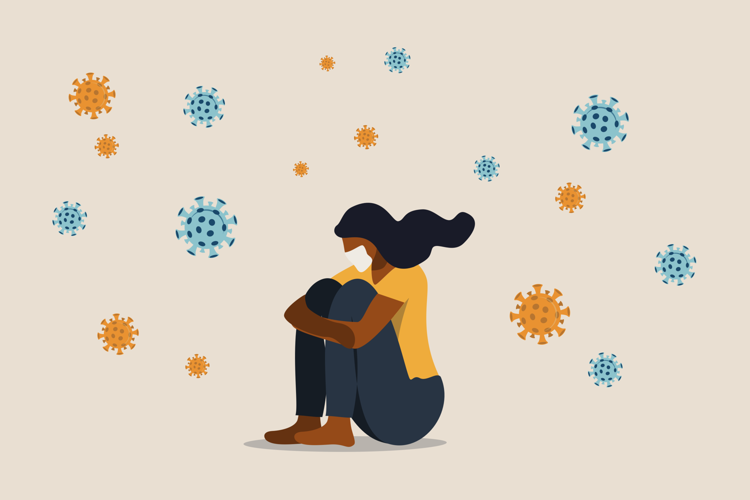 illustration of Black woman sitting with knees pulled to her chest surrounded by exaggerated large virus particles